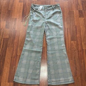 Forever 21 plaid flared wide leg pants
